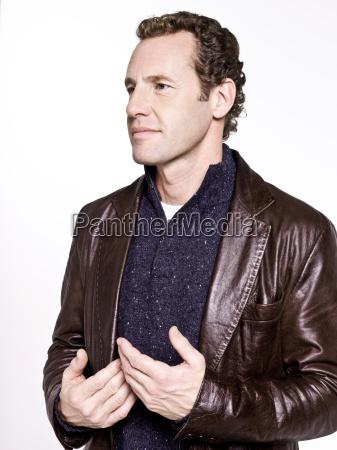 man wearing leather jacket portrait