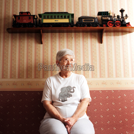 portrait of senior woman with train