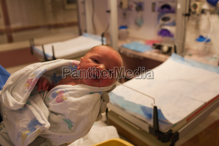 newborn baby boy in hospital