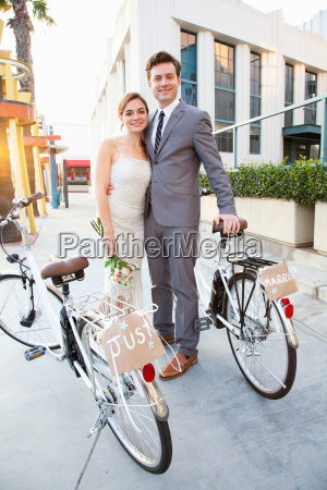 portrait of young newlywed couple with