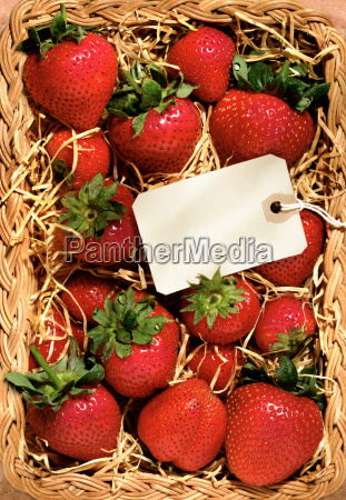 strawberries in a basket with blank
