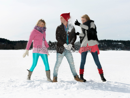 friends having snow war