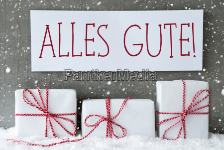 white gift with snowflakes alles gute