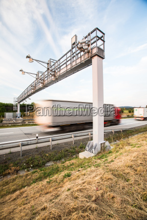 truck passing through a toll gate
