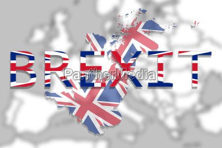 grossbritannien karte mit brexit auf europa