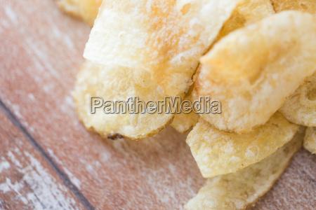 close up of crunchy potato crisps