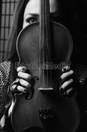 girl violin black background playing
