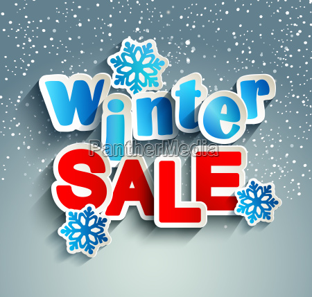winter sale inscription with snowflakes
