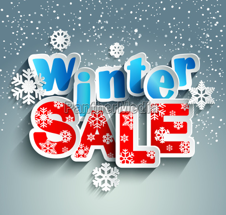 winter sale inscription with snowflakes vector
