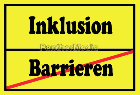 schild, inklusion, und, barrieren - 19599681