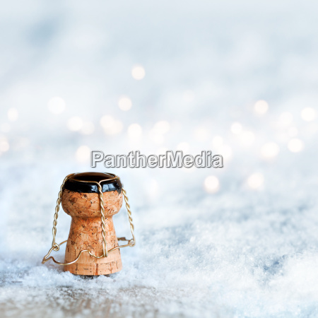 champagne cork in the snow