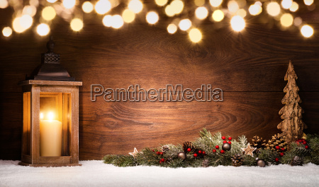 christmas arrangement with lanternchristmas decorations and