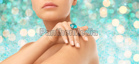 close up of woman hand with