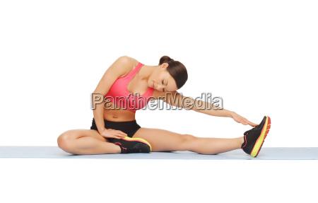 sporty woman doing exercise on the