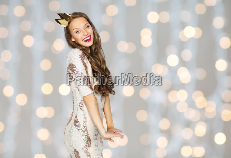 happy young woman or girl in