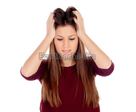 attractive young girl expressing negativity