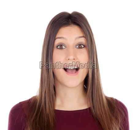 surprised pretty girl i