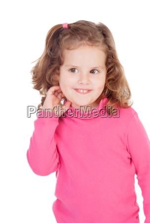 shy little girl in pink