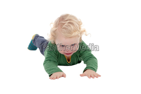 adorable blond baby lying on the