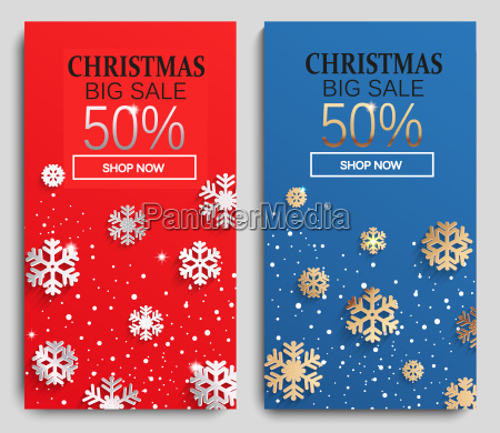 christmas sale cards vector