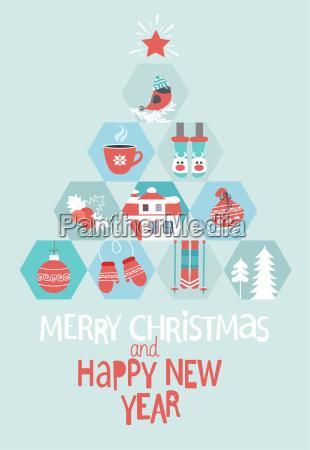 weihnachten und neujahr grusskarte