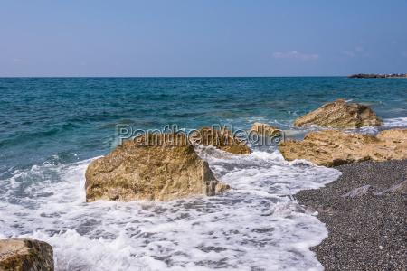 rocky italian coast in campora san