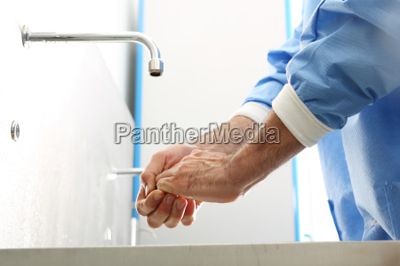 surgical disinfection of hands the doctor