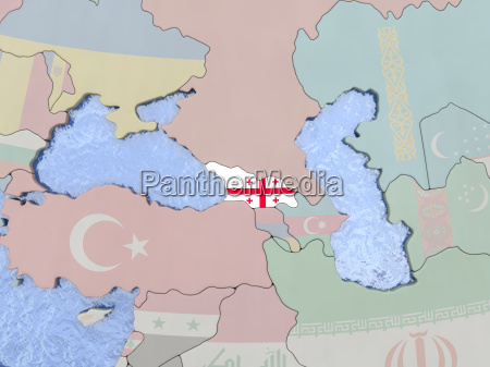 georgia with flag on globe