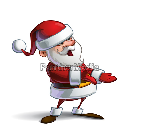 happy santa presenting