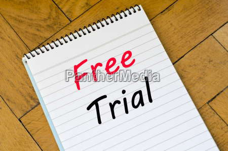 free trial concept on notebook