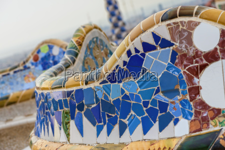 detail of colorful mosaic work on