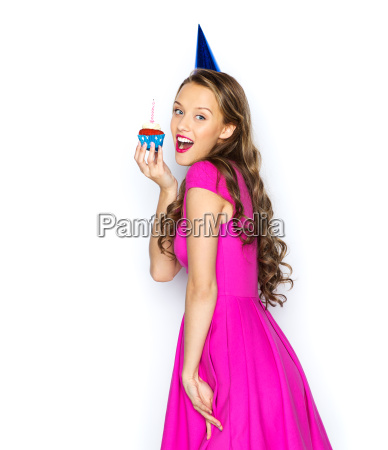 happy woman or teen girl with