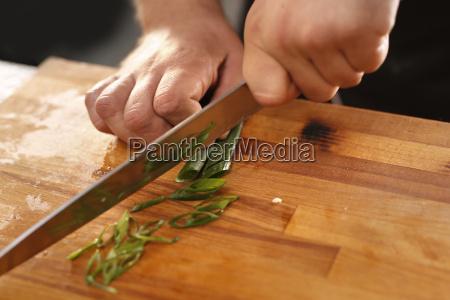 zielony szczypior kucharz kroi zielony szczypior