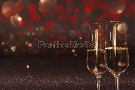 valentines day background with champagne