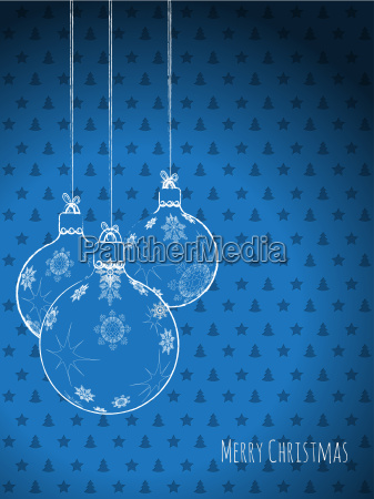 scribbled christmas decorations on a blue