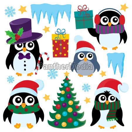 stylized christmas penguins set 1