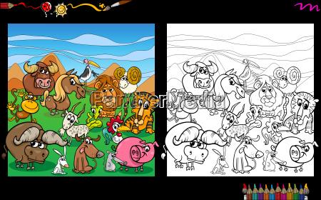 cartoon animals coloring page
