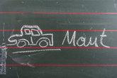 Schultafel mit Autozeichnung und Maut - Stockfoto - #19720365 ...