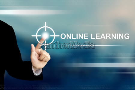 business hand clicking online learning button