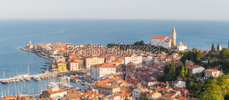 picturesque old town piran on slovenian