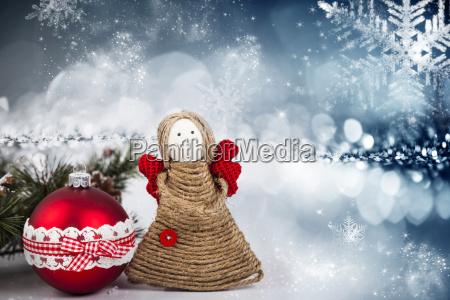 christmas decoration with handmade angel