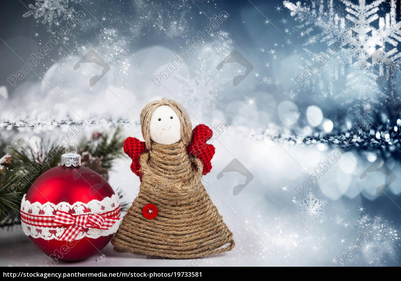 weihnachtsdekoration, mit, handgefertigten, engel - 19733581
