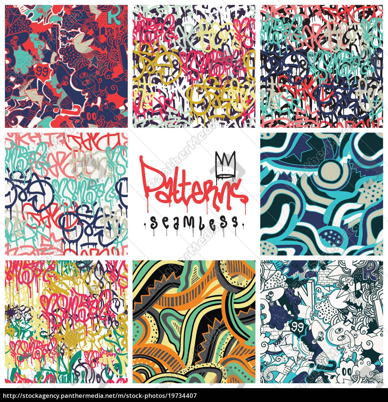 Graffiti Hintergrund Nahtlose Muster Vektor 6