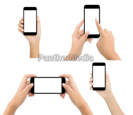 woman hand hold phone blank screen