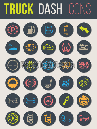 truck dashboard icon set