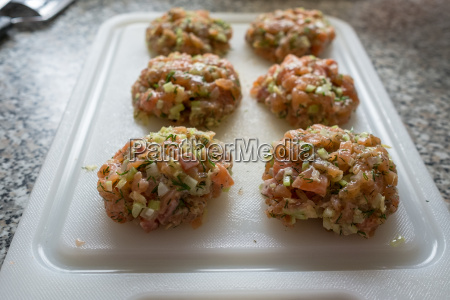 meat balls raw salmon celery and