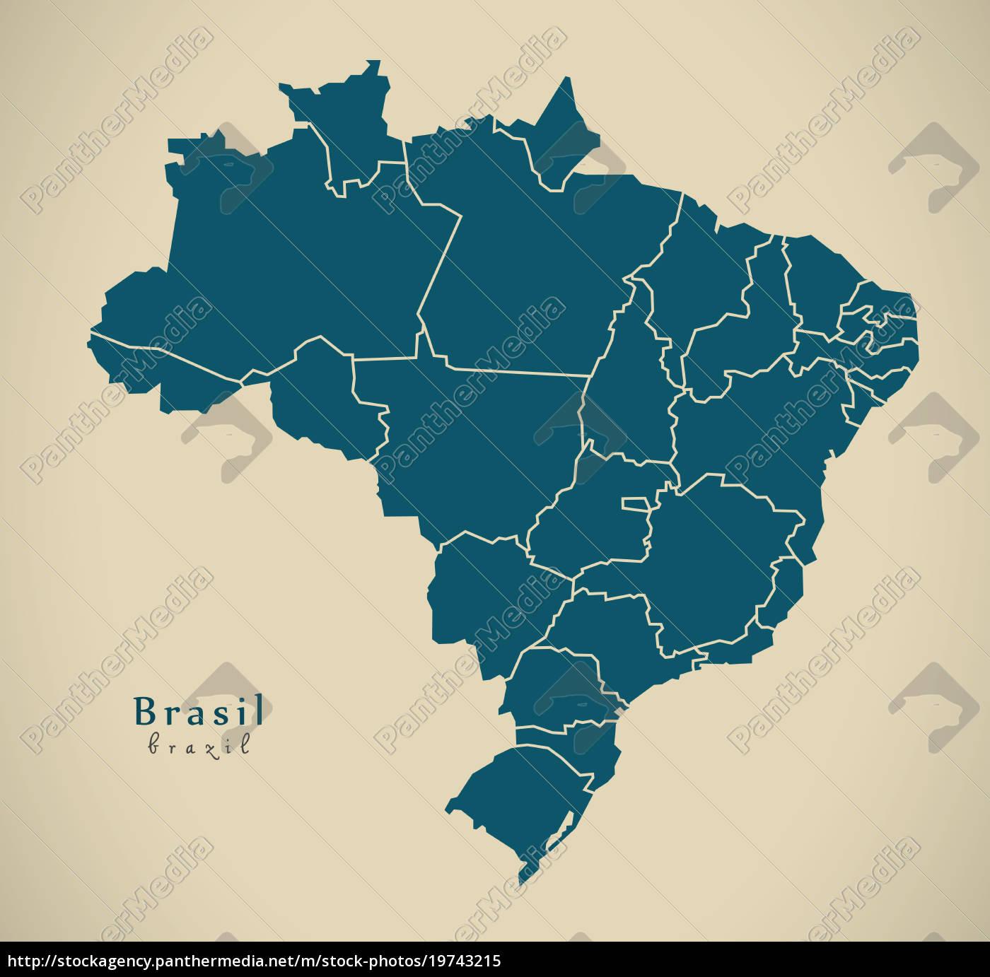 Lizenzfreies Bild 19743215 - moderne karte brasil mit bezirken br brasilien  illustration