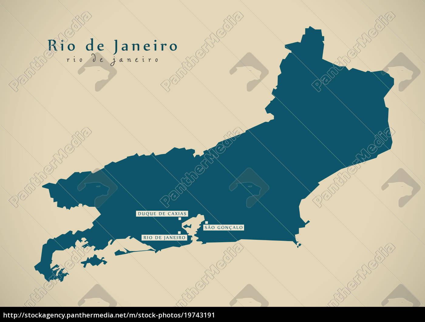 Rio De Janeiro Karte.Lizenzfreies Bild 19743191 Moderne Karte Rio De Janeiro Br Brasilien Illustration