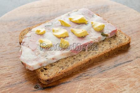 slice of bread with soppressata presswurst