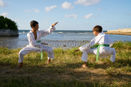 kids training at karate school for